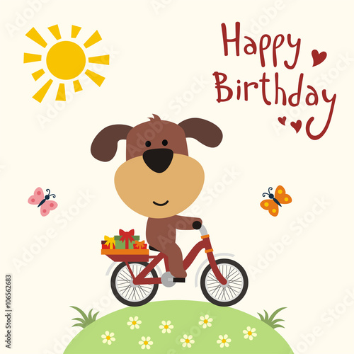 Happy Birthday Funny Puppy On Bike Carries Birthday Gifts Happy