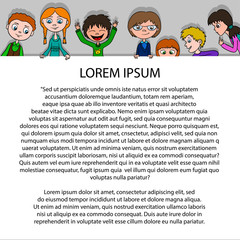 Frame for text in cartoon style with funny kids on paper. Template for poster.