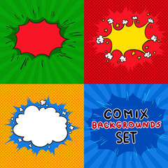 Comics backgrounds vector set. Cartoon old style collection.