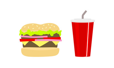Fast Food Snacks Meal Soda Vector Icon