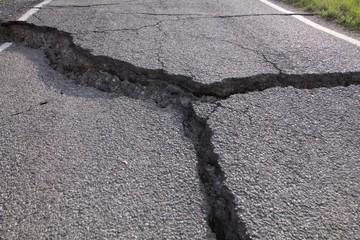 Crack in asphalt for landslide