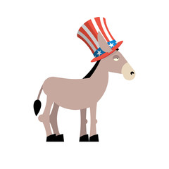 Donkey Democrat. Donkey in Uncle Sam hat. Symbol of political pa