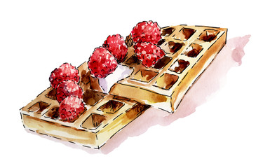 Watercolor Viennese waffles on a white background with raspberries and cream