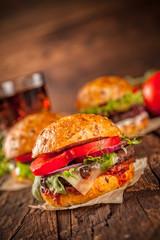 Fresh home-made hamburgers served on wood
