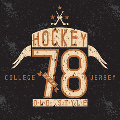 old college vintage style print design with hockey theme