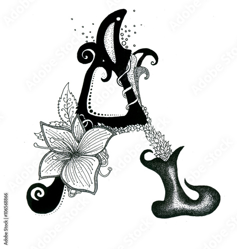 The Letters Alphabet Calligraphy Hand Drawn With Flowers Element Isolated On White Background