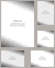 Grey mosaic page corner design template set