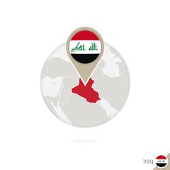 Iraq map and flag in circle. Map of Iraq, Iraq flag pin.