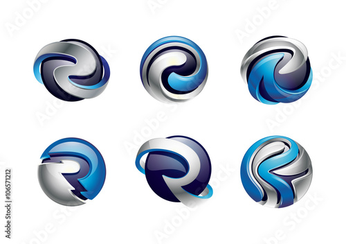 3d sphere logo letter r design set