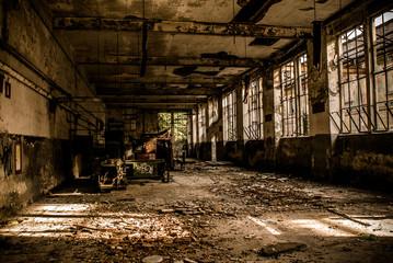 Tuinposter Oude verlaten gebouwen abandoned industrial building - monochrome style image