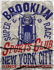 Motorcycle Racing Typography Graphics and Poster. Skull and Old