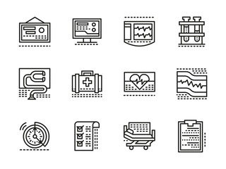 Medical black line vector icons. Cardiology
