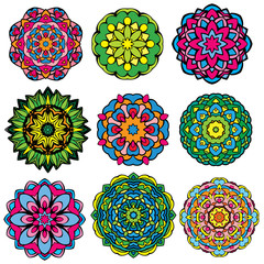 Set of 9 colorful round ornaments, kaleidoscope floral patterns.