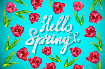 contrasting colorful vector floral background with floral sprigs with butterflies and the words Hello spring on turquoise background