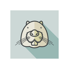 Otter beaver flat icon. Animal head vector