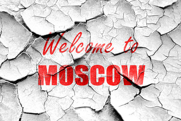 Grunge cracked Welcome to moscow