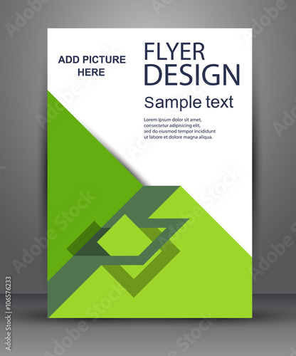 green simple flyer with geometric planes stock image and royalty