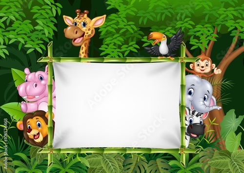 Cartoon african animals with blank sign