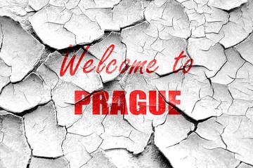 Grunge cracked Welcome to prague