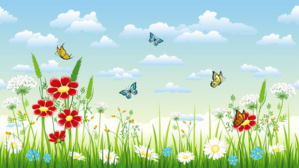 Wall Mural - Seamless flower background with flowers and butterflies