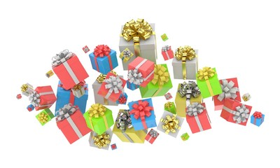 flying gift boxes. 3D rendering.