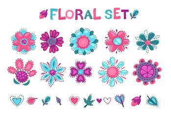 Cute floral elements set