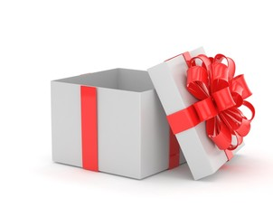 open gift box with bows isolated on white. 3D rendering.