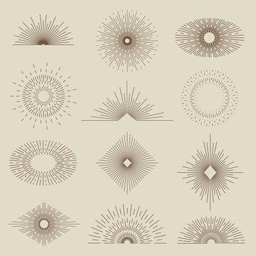 Set of vintage sunbursts in different shapes