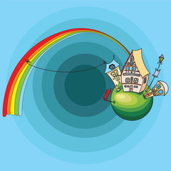 fairy tale rainbow vector image for your design