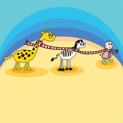 friends giraffe zebra boy vector for your design