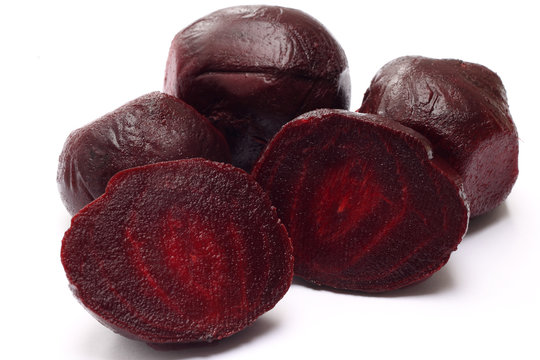 Cooked beetroot on white
