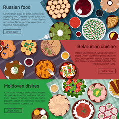Vector flat illustration of russian, belarusian, moldovan molnational dishes.