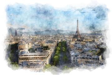 Paris watercolor painting - digital illustration