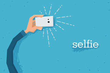Vector flat illustration of a hand holding a smartphone, taking a selfie