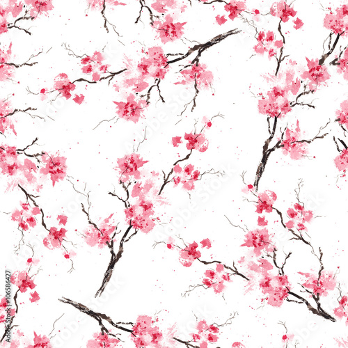 Wall mural Seamless pattern with sakura branches. Original watercolor background.