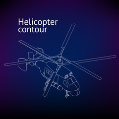 Isometric Helicopter vector outline illustration. Helicopter contour. Isometric linear rotorcraft.