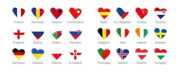 Moderne Herz Symbole der Euro 2016 Teilnehmer in Frankreich