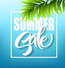 Summer sale lettering on blue background. Vector illustration