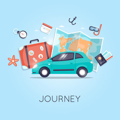Travel by car. World Travel. Planning summer vacations. Summer holiday. Tourism and vacation theme. Flat design vector illustration.