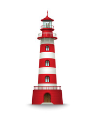 Realistic red lighthouse building isolated on white background. Vector illustration