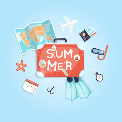 Vintage suitcase with stickers summer holiday, travel suitcase, summer vacation, time to travel, travel-ling on holiday journey. Vector illustration flat design.