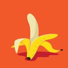 Banana icon flat design pop art illustration. EPS 10 vector.