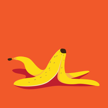 Banana peel icon flat design pop art illustration. EPS 10 vector.