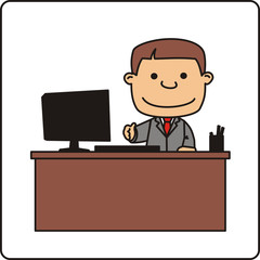 manager behind desk holds out his hand, isolated on white background. Happy manager with computer.