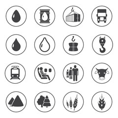 Set of transport and industry icons, vector icons for your design project or presentation, black icons