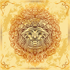 Lion Head with baroque ornament on grunge aged paper background. Vintage tattoo art. Concept design for card, print, t-shirt, postcard, poster. Hand drawn vector illustration
