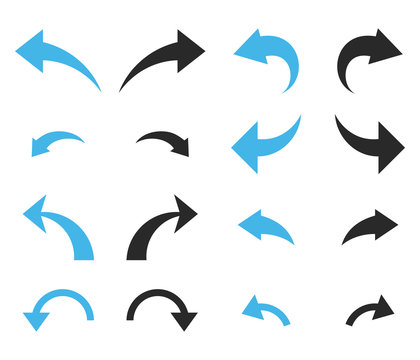 Undo and Redo vector icon set. Collection style is bicolor blue and gray flat symbols on a white background.