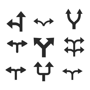 Divide Arrows vector icon set. Collection style is gray flat symbols on a white background.