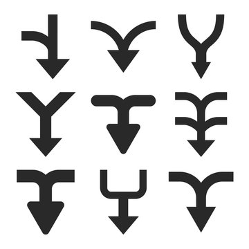 Merge Arrows Down vector icon set. Collection style is gray flat symbols on a white background.