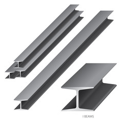 Vector illustration of steel construction isolated (I Beam) on white background.